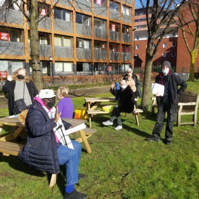 Tenants meeting in the garden