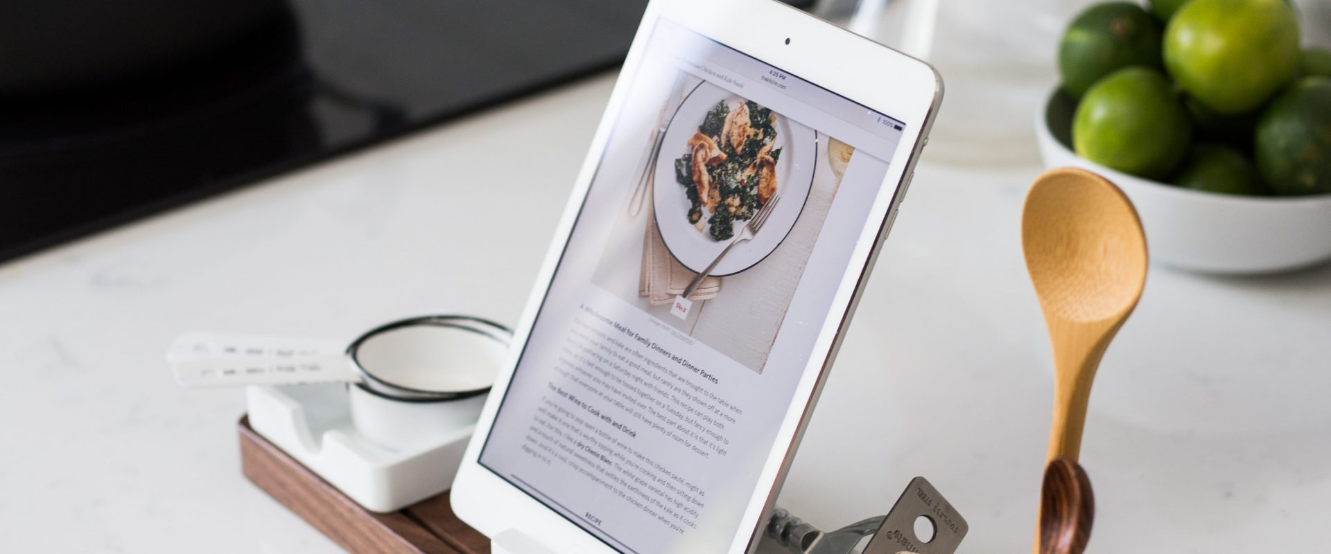Recipe displayed on a tablet